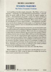 Tensions majeures ; Max Weber, l'économie, l'érotisme - 4ème de couverture - Format classique