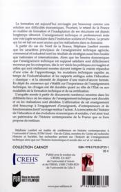 L'école des producteurs ; aux origines de l'enseignement technique en France (1800-1940) - 4ème de couverture - Format classique