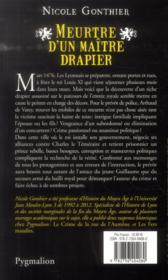 Meurtre d'un maitre drapier - 4ème de couverture - Format classique