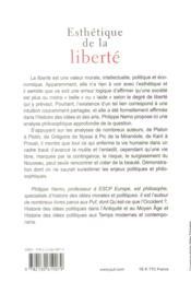 Esthétique de la liberté - 4ème de couverture - Format classique