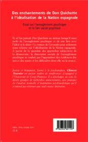 Des enchantements de don Quichotte à l'idéalisation de la nation espagnole ; essai sur l'aveuglementpsychique et le lien social psychosé - 4ème de couverture - Format classique