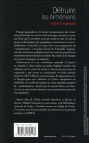 Détruire les Arméniens ; histoire d'un génocide - 4ème de couverture - Format classique