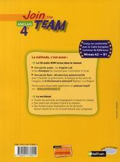 JOIN THE TEAM ; anglais ; 4ème ; manuel de l'élève (édition 2008) - 4ème de couverture - Format classique
