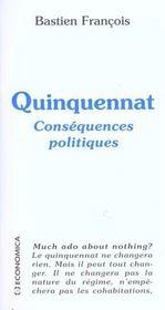 Quinquennat ; conséquences politiques - Intérieur - Format classique