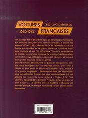 Voitures françaises, 1950-1955 ; trente glorieuses - 4ème de couverture - Format classique