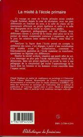 La Mixite A L'Ecole Primaire - 4ème de couverture - Format classique