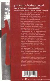 Les Artistes Et La Perception - 4ème de couverture - Format classique