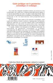 Guide juridique sur le patrimoine scientifique et technique - 4ème de couverture - Format classique