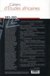 Cahiers d'études africaines T.202 ; le développement à la croisée des chemins - 4ème de couverture - Format classique