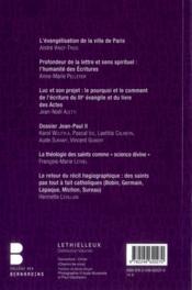 Revue Theologique Des Bernardins N.3 - 4ème de couverture - Format classique