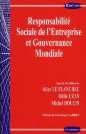 Responsabilite sociale et gouvernance mondiale - Couverture - Format classique