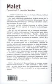 Malet ; l'homme qui fit trembler Napoléon - 4ème de couverture - Format classique