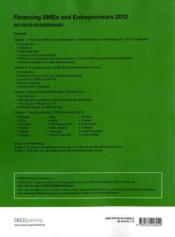 Financing SMEs and Entrepreneurs 2012 - 4ème de couverture - Format classique
