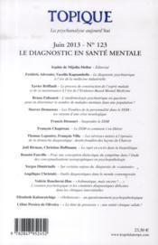 REVUE TOPIQUE N.123 ; le diagnostic en santé mentale - 4ème de couverture - Format classique