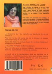Corail de feu ; recueil de poésie - 4ème de couverture - Format classique