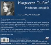 Moderato cantabile - 4ème de couverture - Format classique