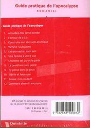 Guide pratique de l'apocalypse - 4ème de couverture - Format classique