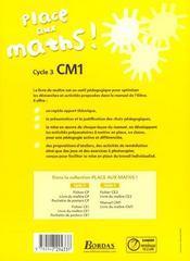 PLACE AUX MATHS ; mathématiques ; CM1 ; livre du maître (édition 2008) - 4ème de couverture - Format classique