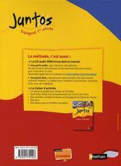 JUNTOS ; espagnol ; 1ère année ; niveau A1, A2 ; manuel de l'élève (édition 2008) - 4ème de couverture - Format classique