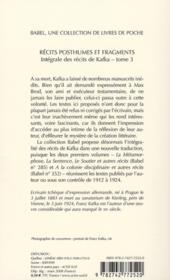 Récits posthumes et fragments - 4ème de couverture - Format classique
