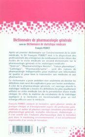 Dictionnaire De Pharmacologie Generale ; Dictionnaire De Statistique Medicale - 4ème de couverture - Format classique