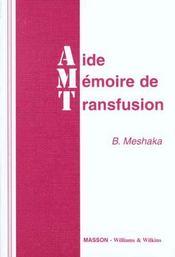 Aide Memoire De Transfusion - Intérieur - Format classique