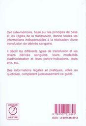 Aide Memoire De Transfusion - 4ème de couverture - Format classique