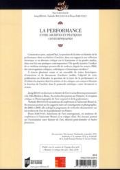 La performance ; entre archives et pratiques contemporaines - 4ème de couverture - Format classique