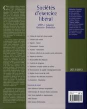 Sociétés d'exercice libéral - SEL (édition 2012/2013) - 4ème de couverture - Format classique
