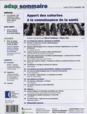Adsp N.77 ; Apport De Cohortes A La Connaissance De La Santé - 4ème de couverture - Format classique
