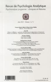 REVUE DE PSYCHOLOGIE ANALYTIQUE N.1 ; psychanalyse jungienne : cliniques et théories - 4ème de couverture - Format classique