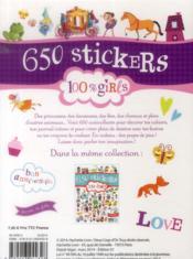 GOMMETTES ; 650 stickers 100% girls ; bloc - 4ème de couverture - Format classique