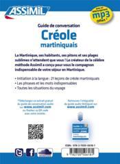 GUIDES DE CONVERSATION ; créole martiniquais - 4ème de couverture - Format classique