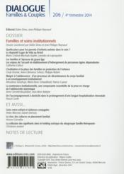 DIALOGUE N.206 ; familles et soins institutionnels - 4ème de couverture - Format classique