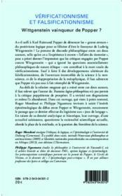 Vérificationnisme et falsificationnisme ; Wittgenstein vainqueur de Popper ? - 4ème de couverture - Format classique