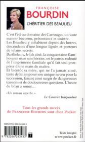L'héritier des Beaulieu - 4ème de couverture - Format classique