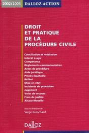 Droit Et Pratique De La Procedure Civile 2002-2003 ; 3e Edition - Intérieur - Format classique