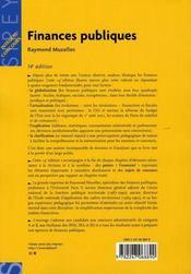 Finances publiques (14e édition) - 4ème de couverture - Format classique