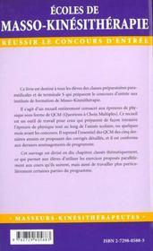 Qcm De Physique Ecoles De Masso-Kinesitherapie - 4ème de couverture - Format classique