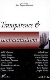 Transparence & communication - Couverture - Format classique