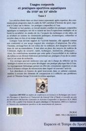 Usages corporels et pratiques sportives aquatiques du XVIIIe au XXe siècle t.1 - Couverture - Format classique