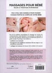 Massages pour bébé ; selon la tradition ayurvédique - 4ème de couverture - Format classique