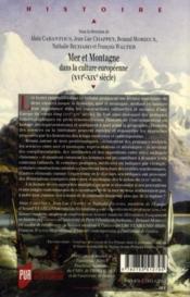 Mer et montagne dans la culture européenne (XVIe-XIXe siècle) - 4ème de couverture - Format classique
