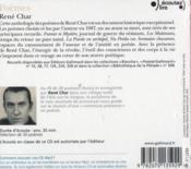 Poèmes de René Char - 4ème de couverture - Format classique