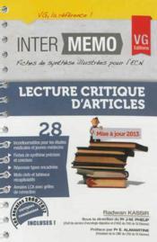 Inter Memo Lecture Critique D'Article Edition 2013 - Couverture - Format classique