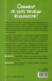 Comment je suis devenu écologiste - 4ème de couverture - Format classique
