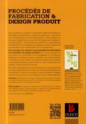Procédés de fabrication & design produit - 4ème de couverture - Format classique