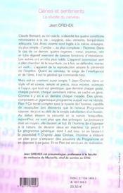 Genes Et Sentiments ; La Revolte Du Cerveau - 4ème de couverture - Format classique