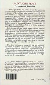 Saint-John Perse, Les Annees De Formation - 4ème de couverture - Format classique