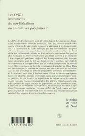 Les Ong ; Instruments Du Neo-Liberalisme Ou Alternatives Populaires - 4ème de couverture - Format classique